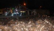 E-5 Karayolu'nda patates yüklü kamyonet devrildi: 2 yaralı